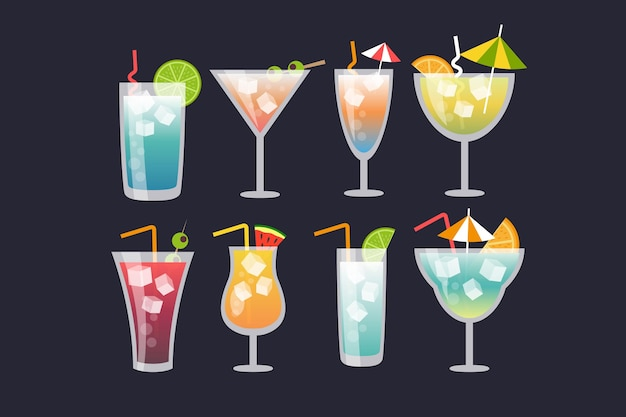 Flat design cocktail collectie