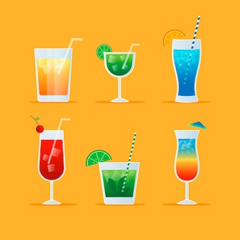 Flat design cocktail collectie