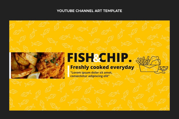 Flat design fish and chips food youtube channel art