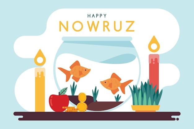Flat design happy nowruz evenement