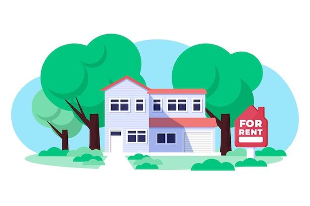 Flat design huis te huur illustratie