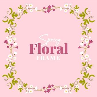 Flat design lente bloemen victoriaanse frame
