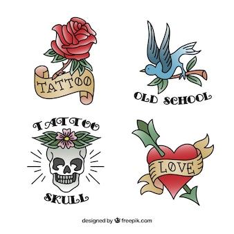 Flat design oude school tattoo collectie