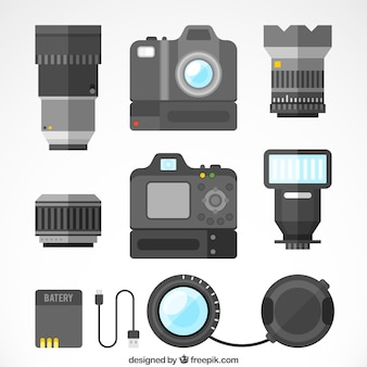 Flat design professionele camera collectio