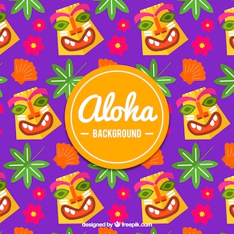 Flat design totem patroon aloha achtergrond