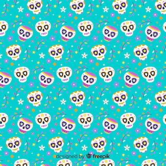 Flat día de muertos blauw patroon
