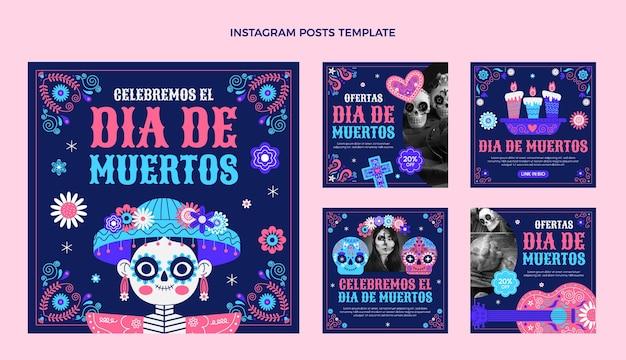 Flat dia de muertos instagram posts collectie