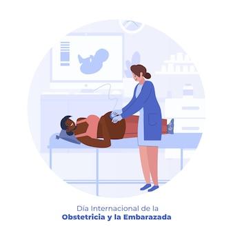 Flat dia internacional de la obstetricia y la embarazada illustratie