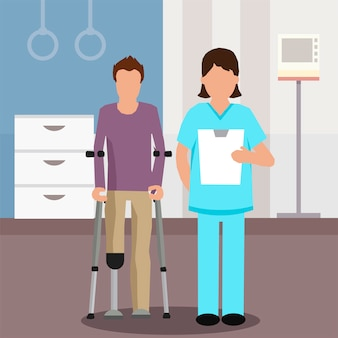 Flat doctor en patiënt in het revalidatiecentrum