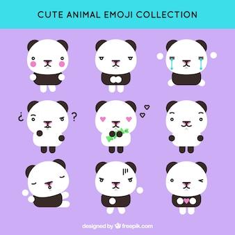 Flat emoticon verzameling van leuke panda