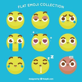 Flat emoticons met bruine gegevens