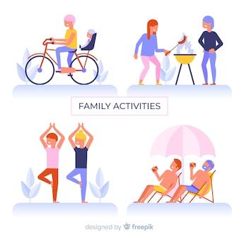 Flat familie outdoor-situaties pack