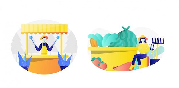 Flat farming illustration pack met karakter