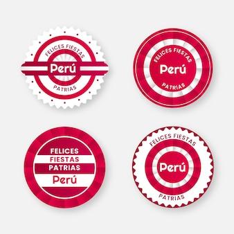 Flat fiestas patrias de peru badge-collectie