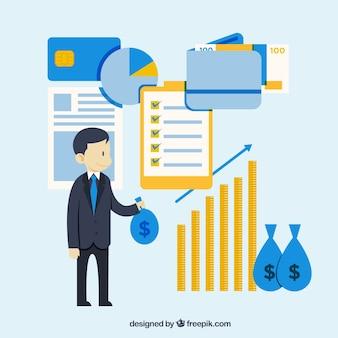 Flat finance concept met schattige stijl