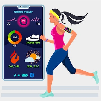 Flat fitness trackers concept