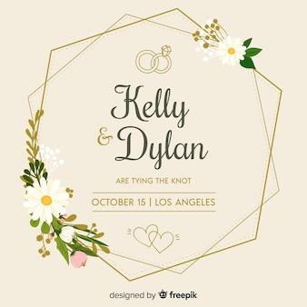 Flat floral frame van een bruiloft uitnodiging