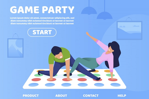 Flat game party informatieve poster belettering.