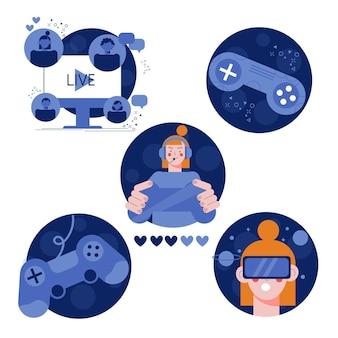 Flat game streamer concept-elementen