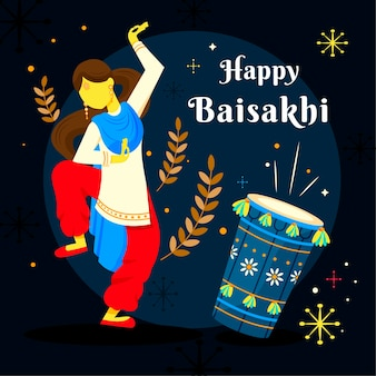 Flat gelukkig baisakhi achtergrondconcept