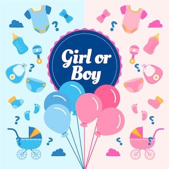 Flat gender reveal concept geïllustreerd