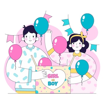 Flat gender reveal party concept