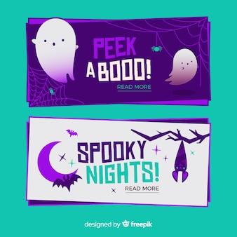 Flat gluren een boe-geroep halloween banners
