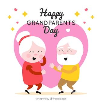 Flat grootouders dansen