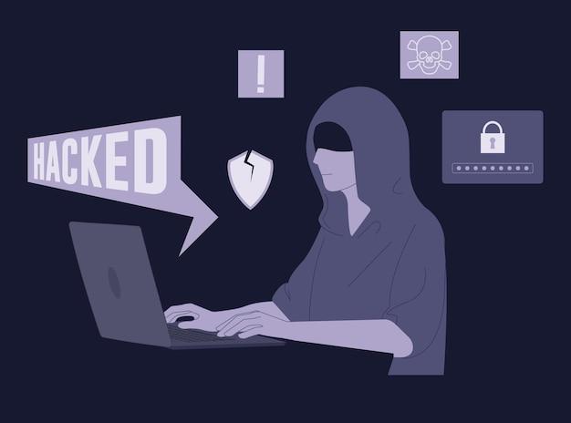Flat hacker zit naast de laptop
