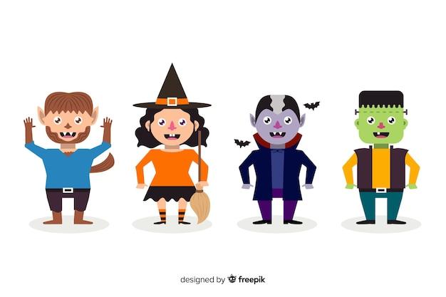 Flat halloween character collection voor kinderen