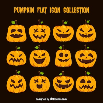 Flat halloween pompoenen collectie