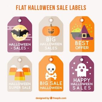 Flat halloween verkooplabels