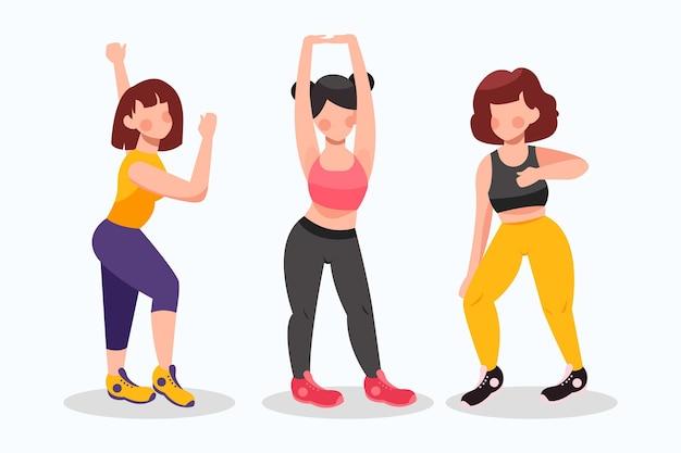 Flat-hand getekend dans fitness klasse illustratie