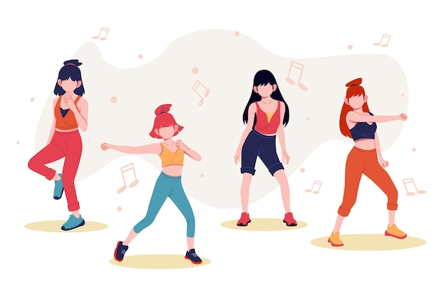 Flat-hand getekend dans fitness stappen collectie met mensen