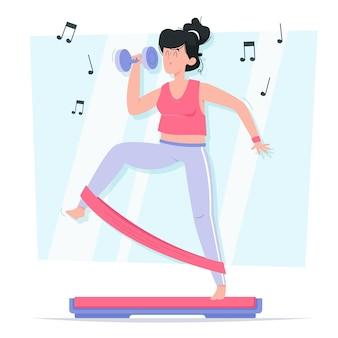 Flat-hand getekend dans fitness stappen illustratie