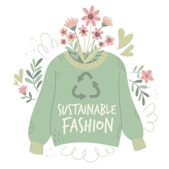 Flat-hand getekend duurzaam mode-concept