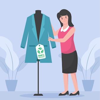 Flat-hand getekend duurzame mode-illustratie met vrouw en jas