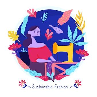 Flat-hand getekend duurzame mode-illustratie