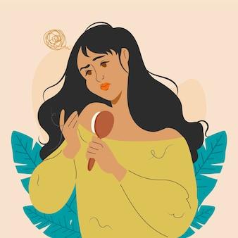 Flat-hand getekend haaruitval illustratie met vrouw