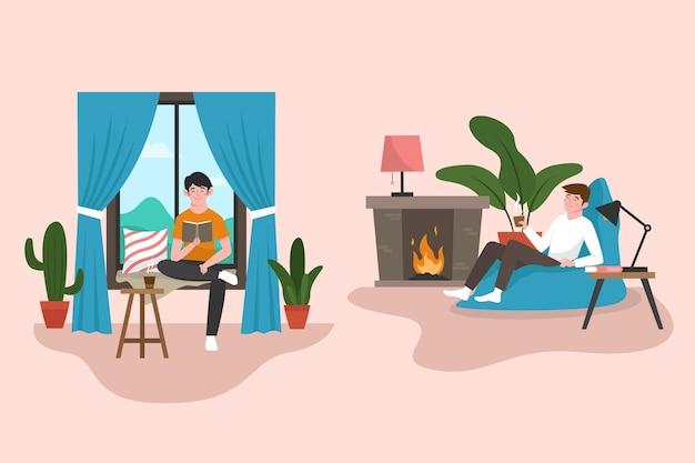 Flat-hand getekend hygge levensstijl illustratie