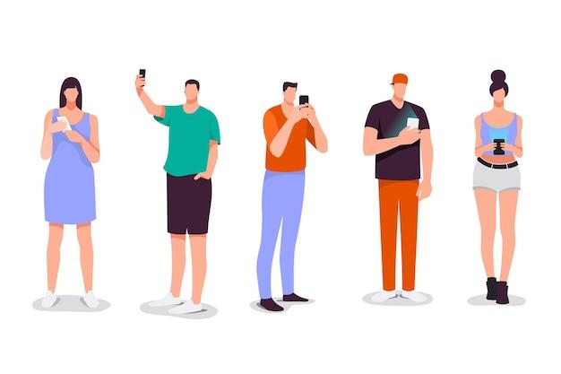 Flat-hand getekend jongeren met behulp van smartphones illustratie