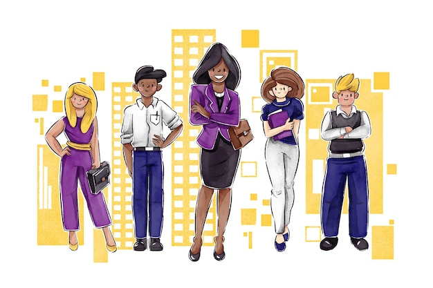 Flat-hand getekend krachtige vrouwelijke teamleider