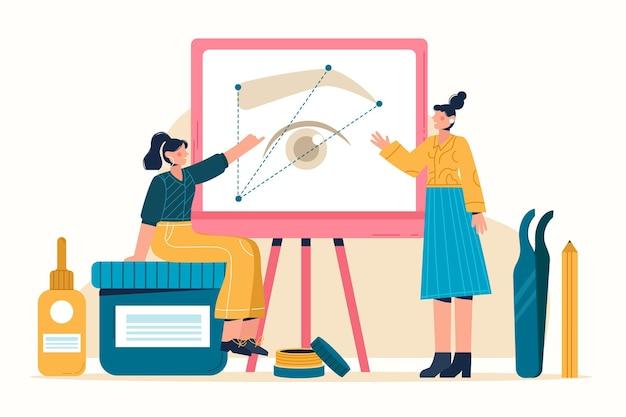 Flat-hand getekend microblading illustratie met vrouwen