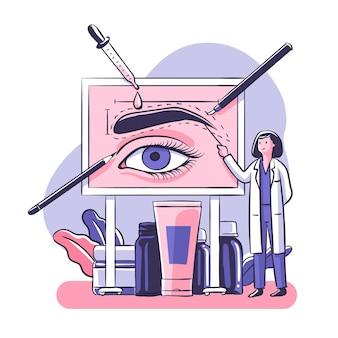 Flat-hand getekend microblading illustratie