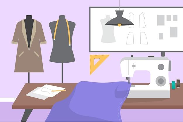Flat-hand getekend modeontwerper concept