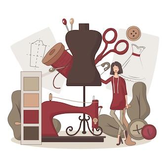 Flat-hand getekend modeontwerper illustratie