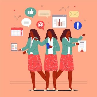 Flat-hand getekend multitask zakenvrouw geïllustreerd