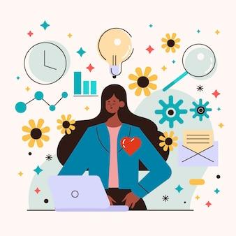 Flat-hand getekend multitasking zakenvrouw illustratie