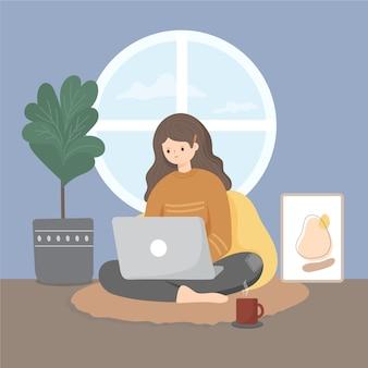 Flat-hand getekend op afstand werken illustratie met vrouw