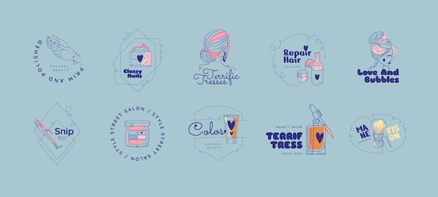 Flat-hand getekend schoonheidssalon logo set